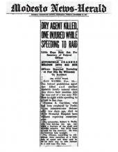 Image of the Modesto News-Herald newspaper article with the headline, Dry Agent Killed, One Injured While Speeding to Raid
