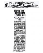 Image of The Ogden Standard Examiner, dated July 29, 1931 with headling: Trapped Rum Runner Slays Federal Men