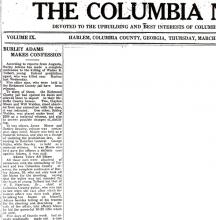 Image of a newspaper article with headline, Burley Adams Makes Confession