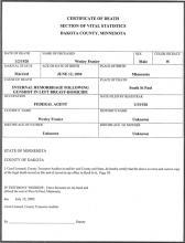 Image of Wesley A. Fraser's certificate of death