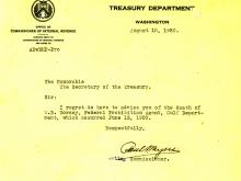 Picture of the death announcement from the Treasury Department regarding William Daniel Dorsey