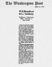 Image of newspaper article in The Washington Post, dated May 14, 1934, with headline: W.R. Blandford Dies Suddenly