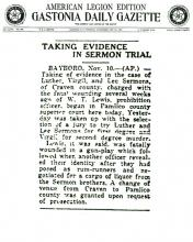 Image of The Gastonia Daily Gazette newspaper article, with headline, Taking Evidence in Sermon Trial