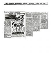 Image of a newspaper article from the Ocean Evening Times about Frank Matuskoitz dated April 27, 1923.
