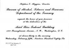 Image of the invitation for the Ariel Rios building dedication ceremony.