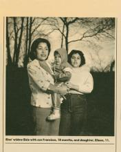 Image of Special Agent Rios widow Elsie with son Francisco and daughter Eileen
