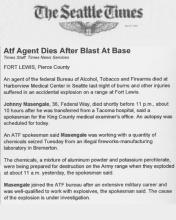 Image of The Seattle Times news article with the headline, ATF Agent Dies After Blast at Base