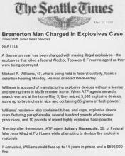 The Seattle Times article, dated May 30, 1992, with the headline Bremerton Man Charged in Explosives Case