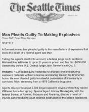 The Seattle Times article, dated August 11, 1992, with the headline Man Pleads Guilty to Making Explosives