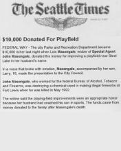 The Seattle Times article, dated March 22, 1995, with the headline $10,000 Donated for Playfield