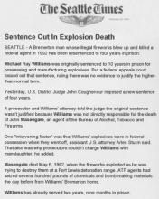 The Seattle Times article, dated February 24, 1995, with the headline Sentence Cut in Explosion Death