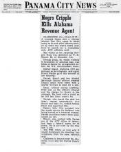 Panama City News article with headline, Negro Cripple Kills Alabama Revenue Agent