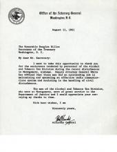Carta del Fiscal General Robert Kennedy al Secretario del Tesoro Douglas Dillon agradeciéndole por los servicios del personal de la División de Alcohol y Tabaco que ayudó durante los disturbios de Montgomery, Alabama.