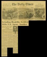 El artículo de noticias del Daily Times con el titular, Accidente de frente mata a un agente federal y a otro