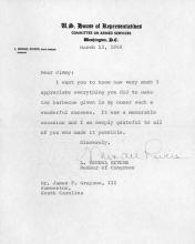 Carta del congresista L. Mendel Rivers agradeciendo a James Grayson, III por la barbacoa dada en su honor.