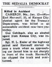The Sedalia Democrat article about Earl Harrouff car accident