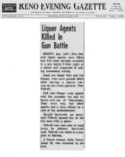 Artículo del periódico Reno Evening Gazette con el título, Agentes de licores muertos en tiroteo