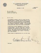 Carta de felicitación a Ralph Holt del director de la División de Impuestos al Alcohol y Tabaco, Dwight E Avis