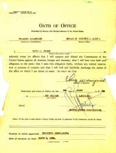 Juramento del cargo de Elvis Myrick, fechado el 5 de marzo de 1934