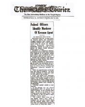 Newspaper article from The Daily Courier, with headline: Federal Officers Identify Murderer of Revenue Agent