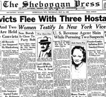 Newspaper article from The Sheboggan Press, dated May 14, 1936, with headline: U.S. Revenue Agent Slain While Pursuing Two Suspects