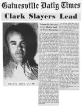 Image of the Gainesville Daily Times article with headline Clark Slayers Lead
