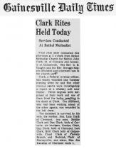Image of the Gainesville Daily Times newspaper article with headline, Clark Rites Held Today