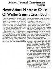 Artículo periodístico en Atlanta Journal Constitution, fechado el 1 de enero de 1941, con el titular: Ataque al corazón insinuado como causa de la muerte por accidente de Walter Guinn
