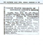 Newspaper article from The Galveston Daily News, dated February 21, 1937, with headline: Three Waive Hearing in Revenue Agents Death