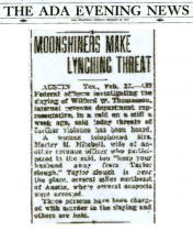 Newspaper article from The ADA Evening News, dated February 23, 1937 with headline: Moonshiners Make Lynching Threat