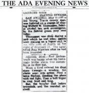 Newspaper article from The ADA Evening News, with headline: Charged With Slaying Officer