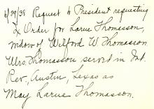 Note regarding an order for Larue Thomasson
