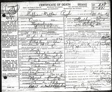 William Milton Pugh Certificate of Death