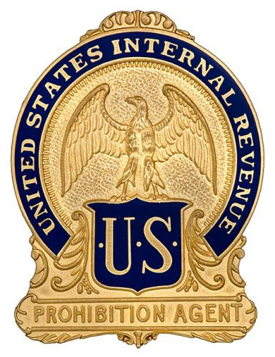 Image of the badge for the Prohibition Unit, Bureau of Internal Revenue, U.S. Department of Treasury 1920-1926