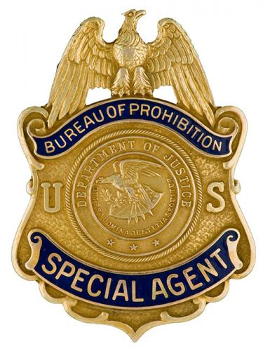 Image of the badge for the Bureau of Prohibition, U.S. Department of Justice 1930-1933