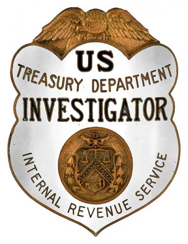 Image of the badge for the Alcohol Tax Unit Bureau of Internal Revenue, U.S. Department of the Treasury 1934-1951