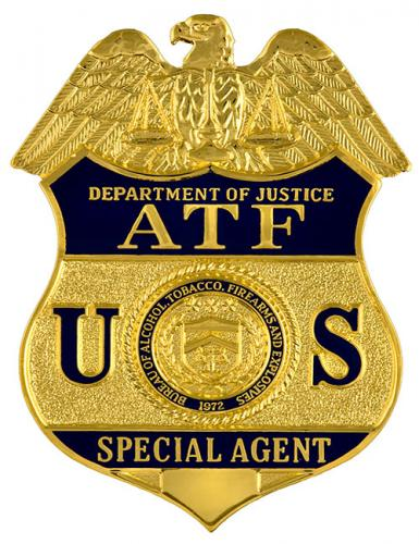 Image of the badge for the Bureau of Alcohol, Tobacco, Firearms and Explosives, U.S. Department of Justice 2003-Present