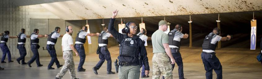 Special Agent Waytes leads firearms training for ATF agents