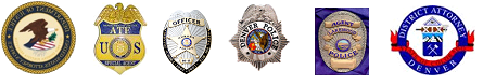 Picture of various Badges and seals of ATF, Justice Dept, and Denver Police Dept