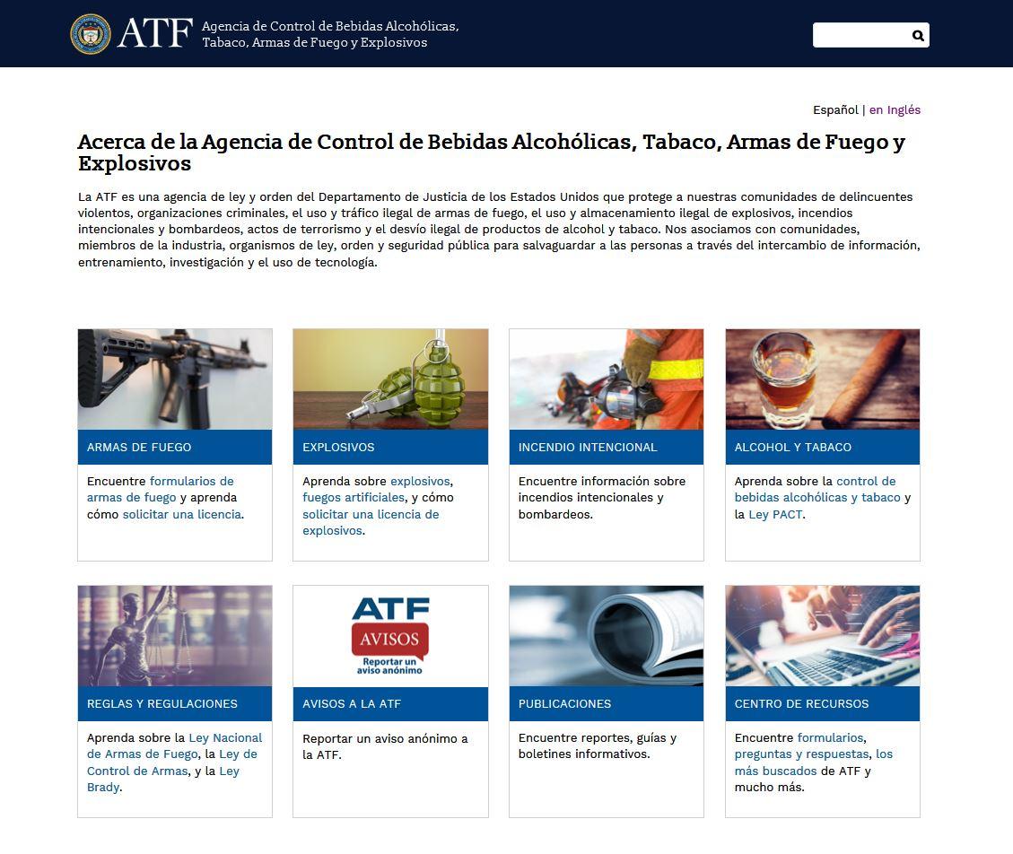 Página de inicio de ATF.gov traducida al español