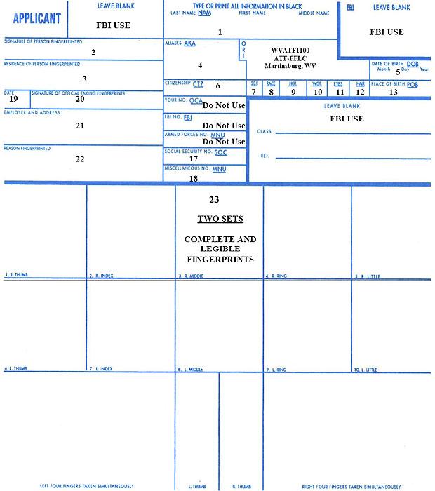 Firearms Fingerprint Card Sample Large  Bureau Of Alcohol