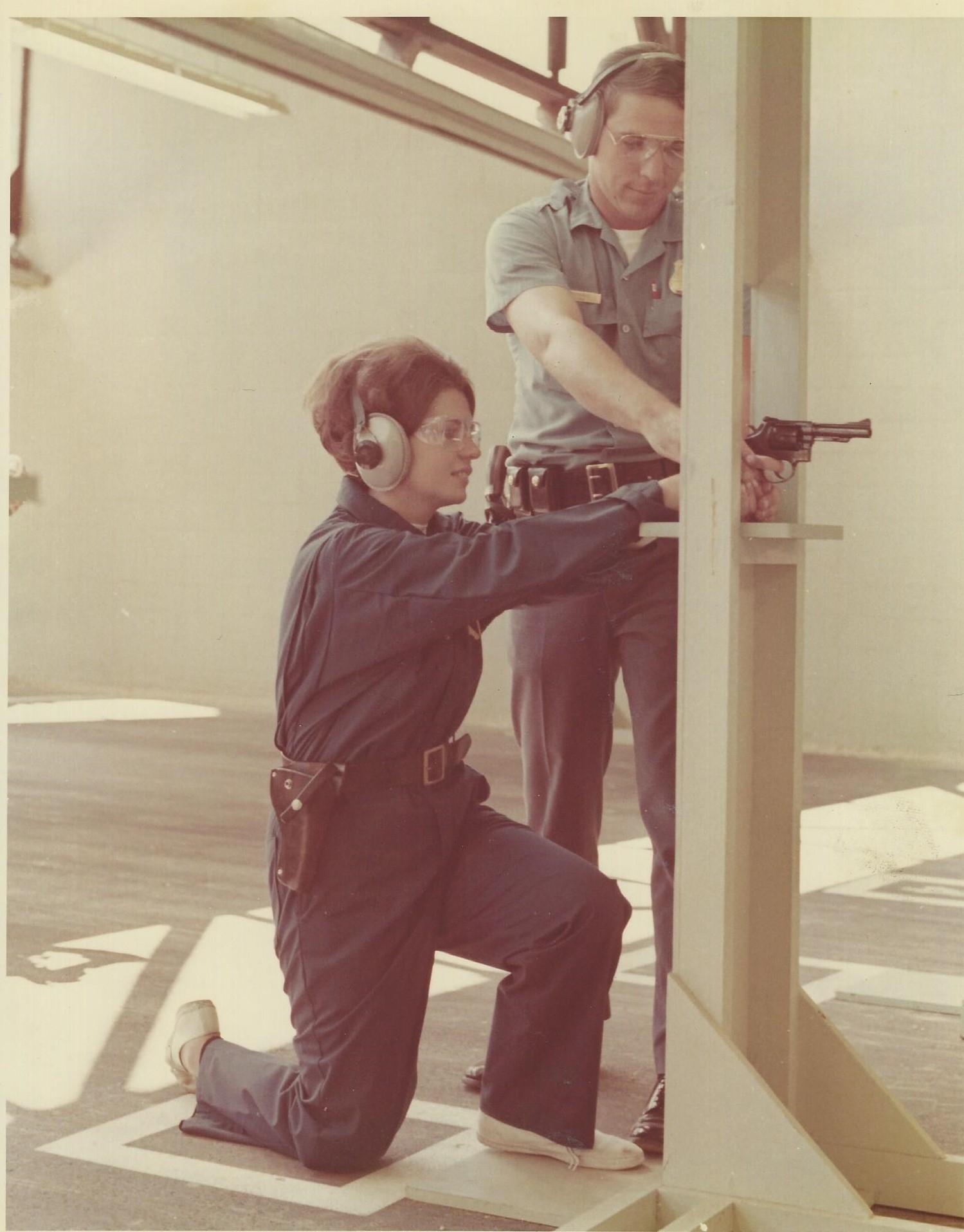 Jo Ann Kocher participating in firearms training