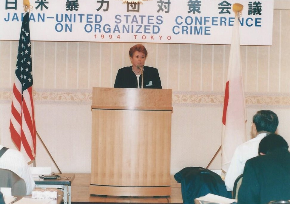 Jo Ann Kocher giving a presentation on ATF's capabilities in Japan