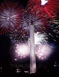 Image of fireworks over the D.C. monument