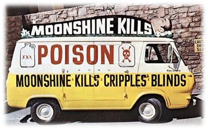 Image of a van painted black, white and yellow advertising moonshine kills, poison, and moonshine kills, cripples, blinds.