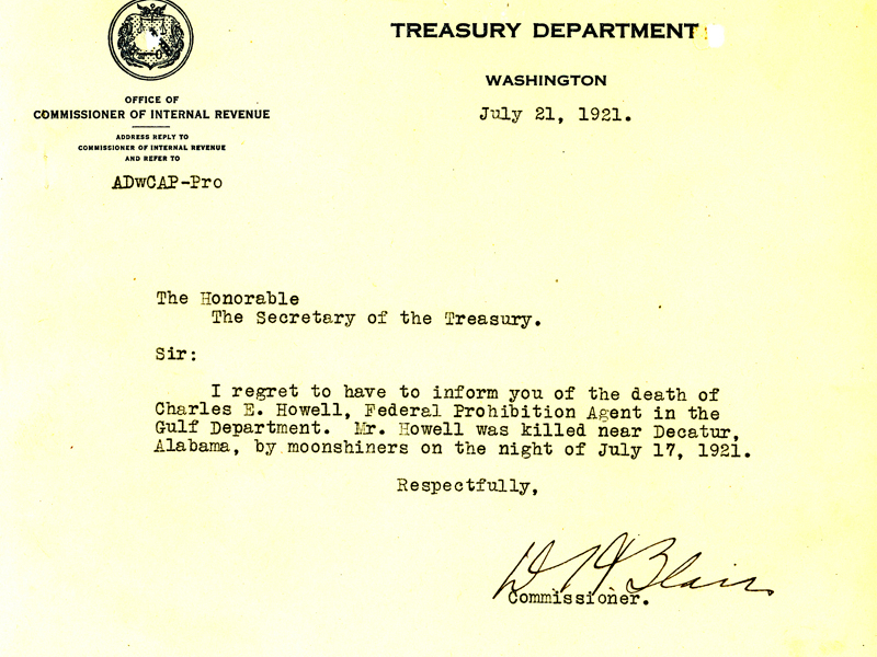 Letter announcing the death of Charles Howell