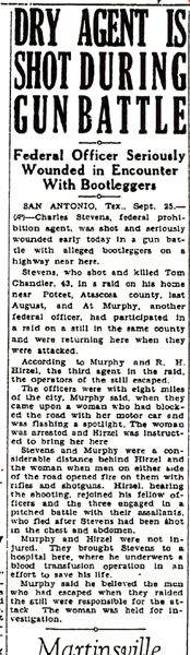 Image of newspaper article with headline, Dry Agent is Shot Durning Gun Battle