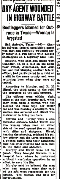 Image of newspaper article with headline, Dry Agent Wounded in Highway Battle