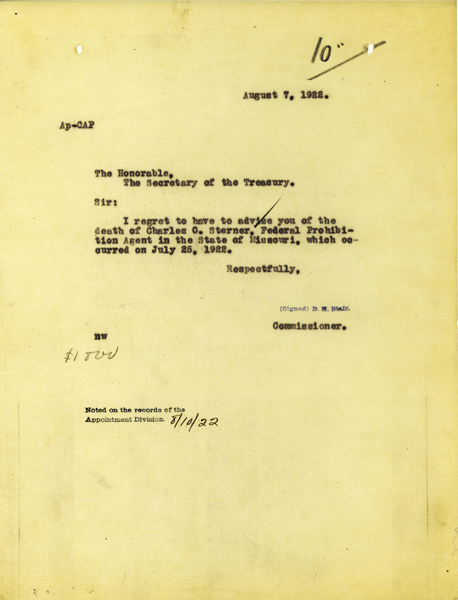 Letter announcing the death of Charles Sterner