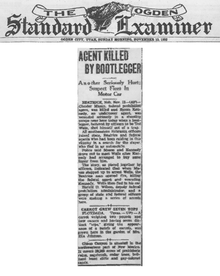 Image of newspaper article in The Ogden Standard Examiner, with headline: Agent Killed by Bootlegger